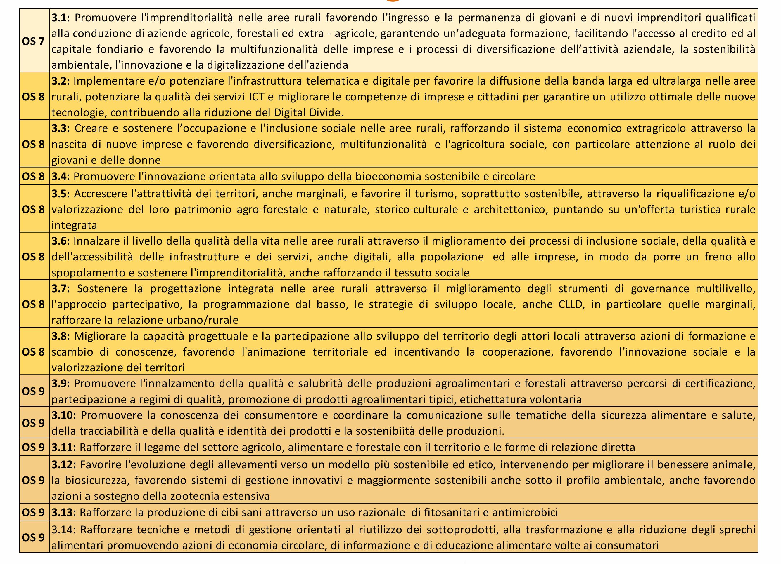 grafico con gli obiettivi strategici dell'obiettivo generale 3