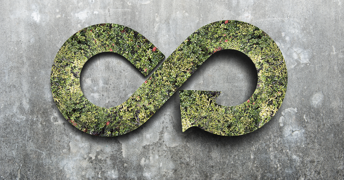simbolo dell'infinito fatto da piante per indicare il riutilizzo delle materie