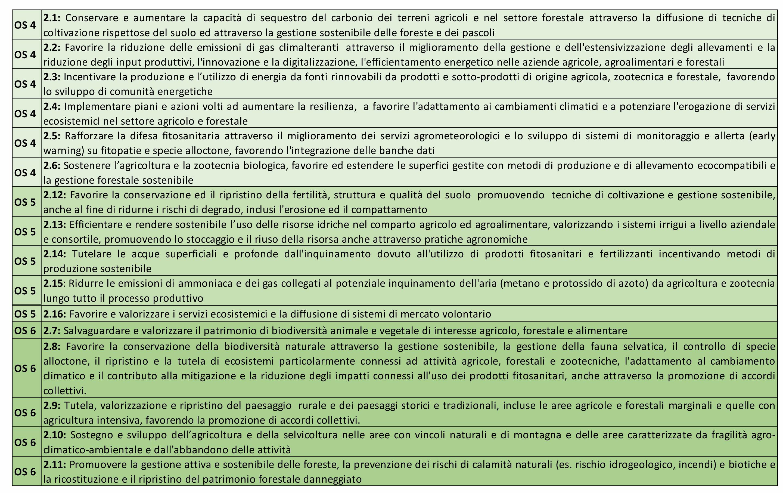 grafico con gli obiettivi strategici dell'obiettivo generale 2