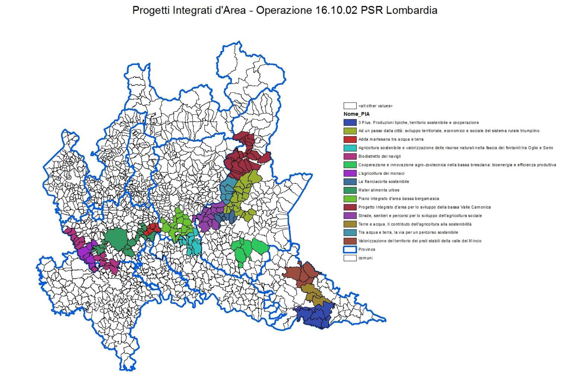 Cartina Lombardia Con Tutti I Comuni.Pianeta Psr Cooperazione I Progetti Integrati Di Area Nel Psr Della Regione Lombardia