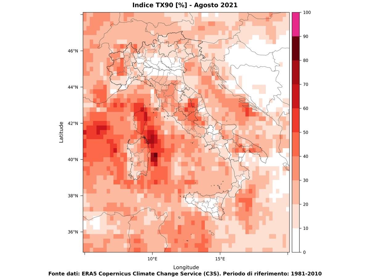 Temperature  massime estreme - Agosto 2021