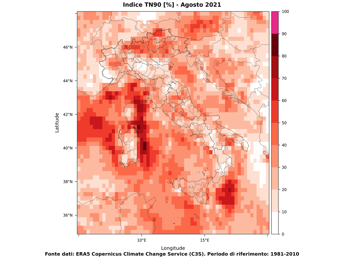 Temperature minime estreme - Agosto 2021