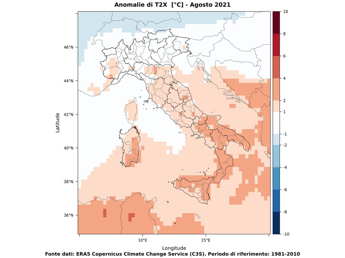 Anomalie di temperature massime - Agosto 2021